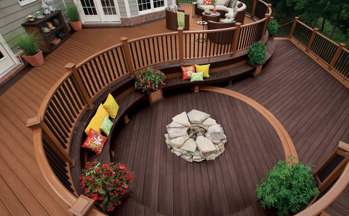 landscaping backyard deck