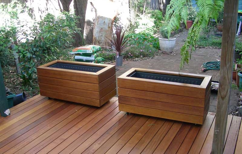 twin wooden planter boxes