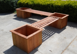 wooden planter box seat