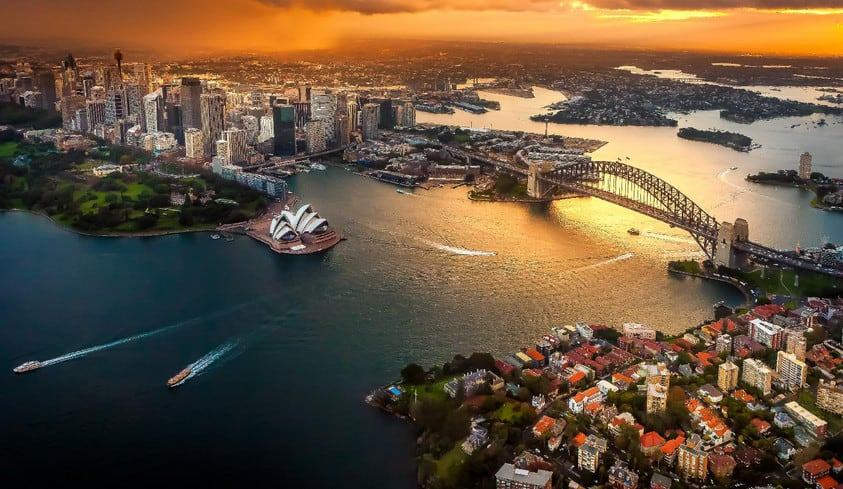 aerial view city of Sydney