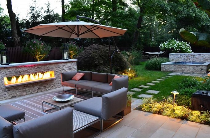 backyard landscape design with firepit