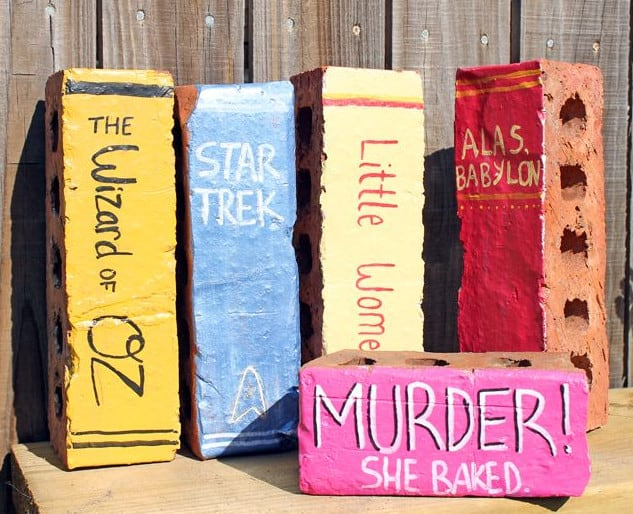 bricks coloured as books