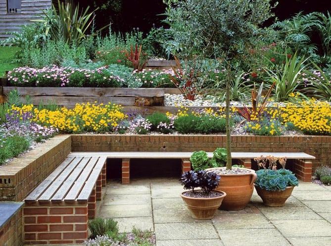 garden brick bench