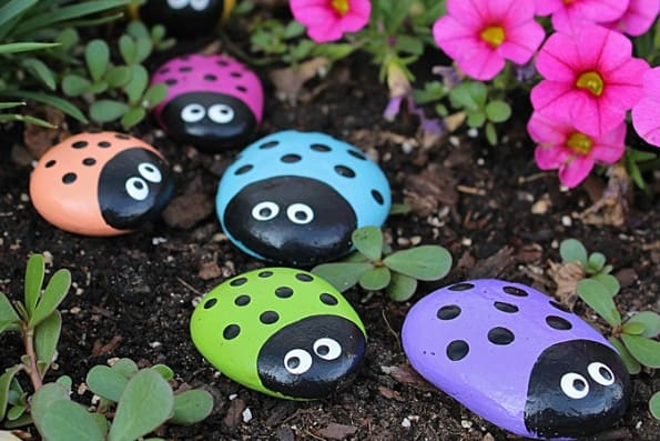 painted rocks and stones - creative diy landscaping ideas