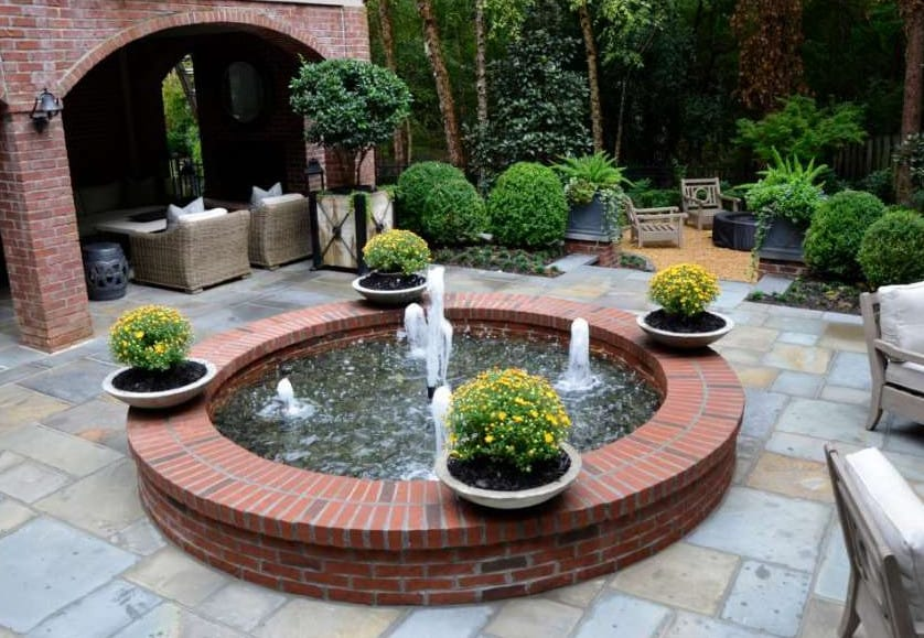 pavers ideas around fountain