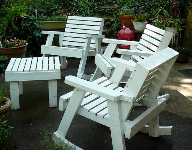 old patio rocking chair and table for backyard