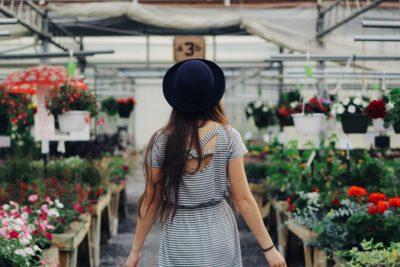 woman practicing mindulfulness and gardening