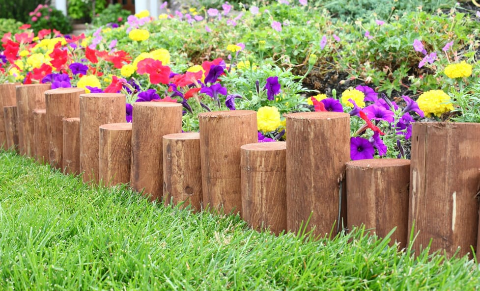landscape edging with logs