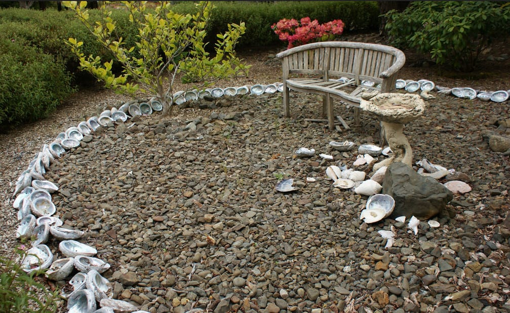 landscape edging with sea shells