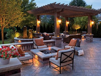 outdoor fireplace landscaping ideas