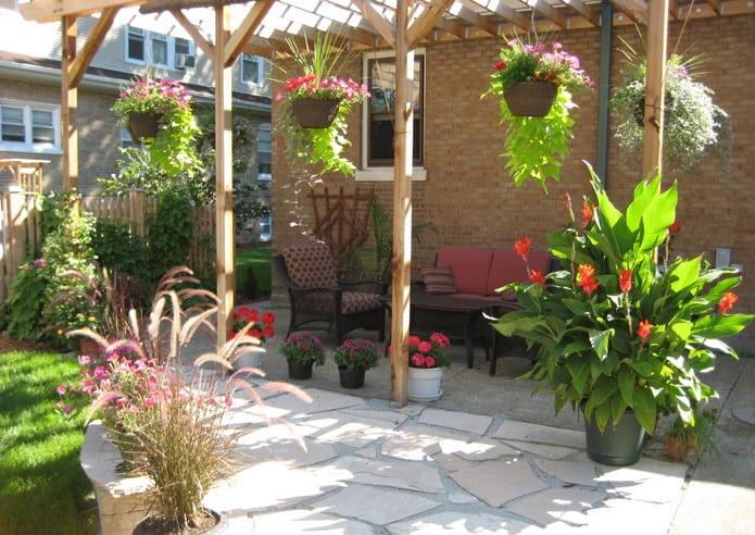 hanging flower pot landscape ideas for front yard