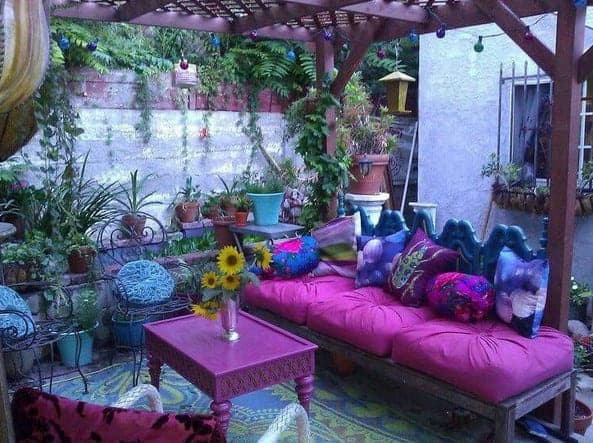 backyard patio ideas with colourful bohemian decor