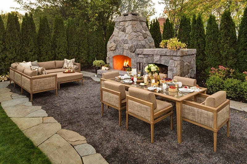 gravel patio landscape design ideas with fireplace