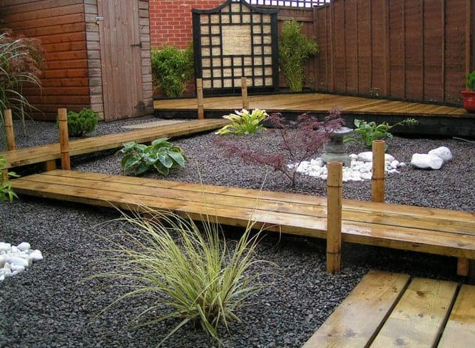 japanese garden design with wood walkway