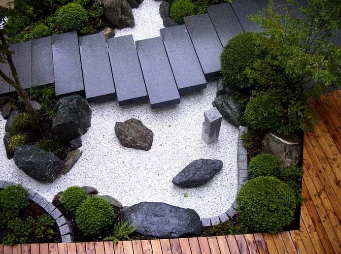 zen garden path using grantite