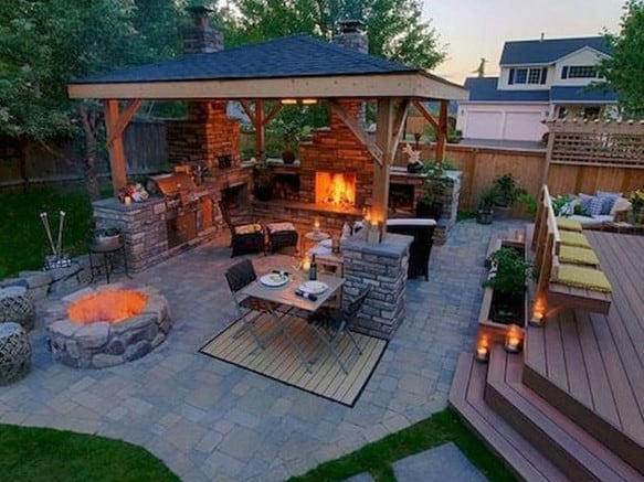 backyard landscaping with outdoor kitchen